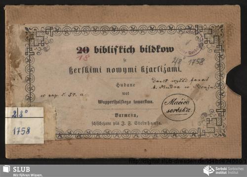 Vorschaubild von 20 bibliskich bildkow se ßerbskimi nowymi kjarliźami