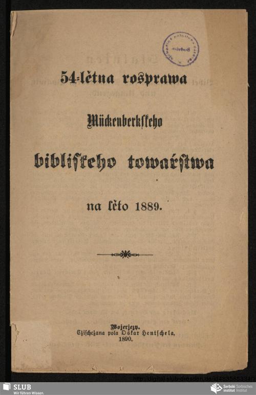 Vorschaubild von 54-lětna rozprawa Mückenberkskeho bibliskeho towaŕstwa na lěto 1889