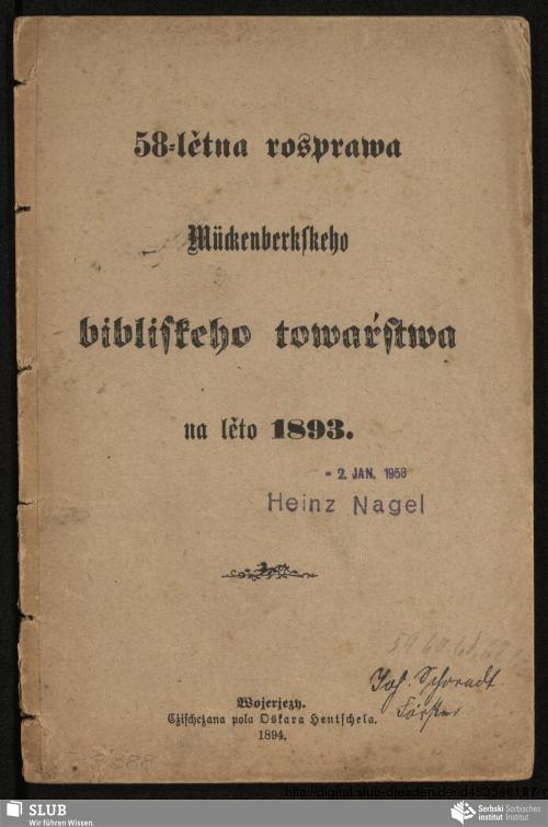 Vorschaubild von 58-lětna rosprawa Mückenberkskeho bibliskeho towaŕstwa na lěto 1893