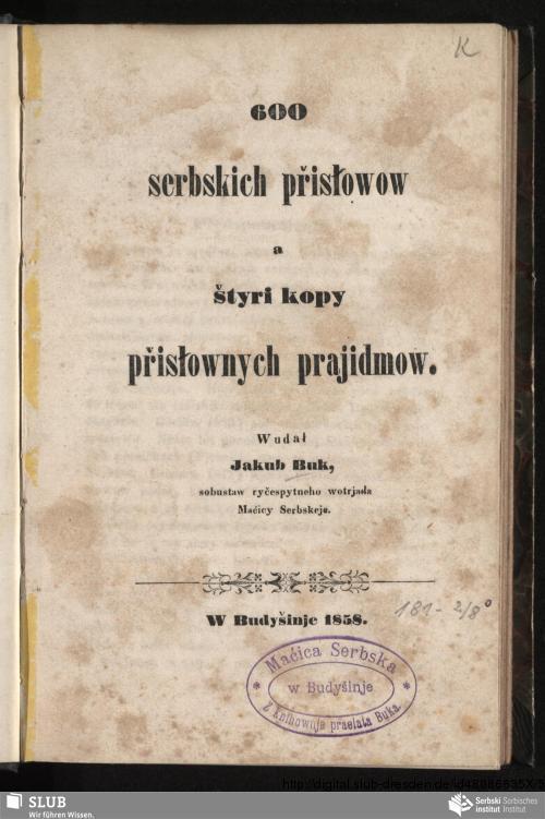 Vorschaubild von 600 serbskich přisłowow a štyri kopy přisłownych prajidmow