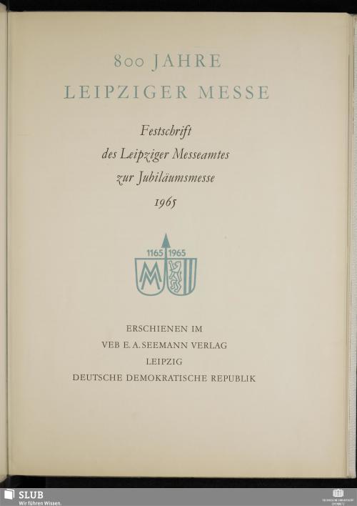 Vorschaubild von 800 Jahre Leipziger Messe
