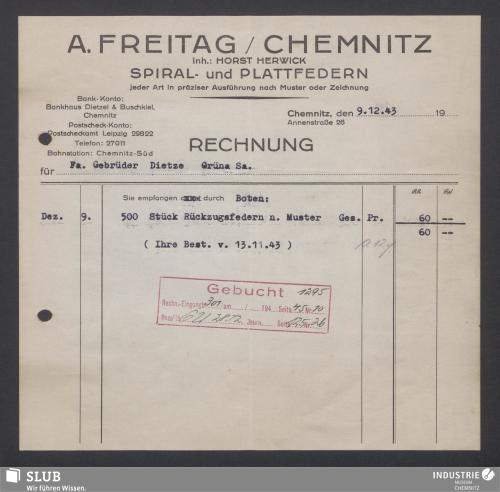 Vorschaubild von A. Freitag, Chemnitz, Inh.: Horst Herwick, Spiral- und Plattfedern
