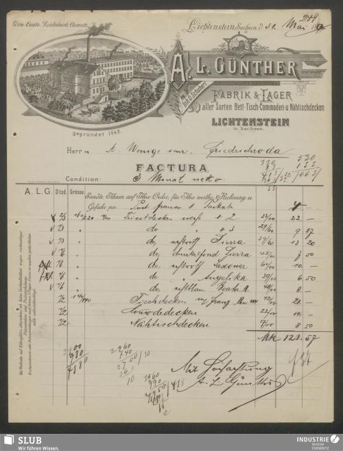 Vorschaubild von A. L. Günther, Fabrik & -Lager aller Sorten Bett- Tisch- Commoden- u. Nähtischdecken, Inh. O. Schubert, Lichtenstein in Sachsen