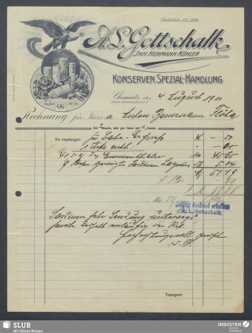 Vorschaubild von A. L. Gottschalk, Inh. Hermann Köhler, Konserven Spezial-Handlung, Chemnitz