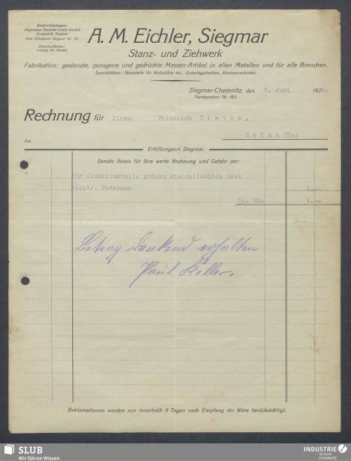 Vorschaubild von A. M. Eichler, Siegmar, Stanz- und Ziehwerk