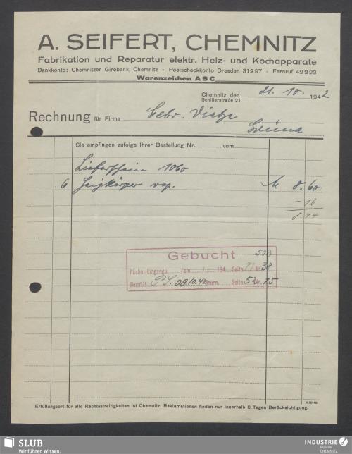 Vorschaubild von A. Seifert, Chemnitz, Fabrikation und Reparatur elektr. Heiz- und Kochapparate