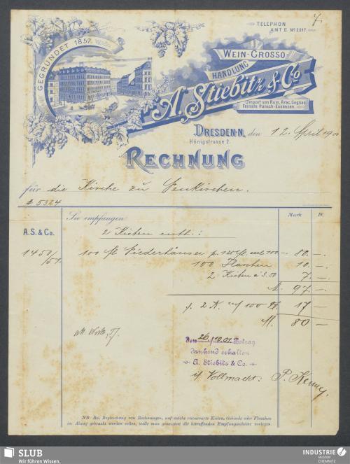 Vorschaubild von A. Stiebitz & Co., Wein-Grosso-Handlung, Dresden-N.