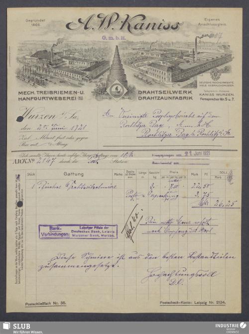 Vorschaubild von A. W. Kaniss G.m.b.H., Mech. Treibriemen- u. Hanfgurtweberei, Drahtseilwerk, Drahtzaunfabrik, Wurzen