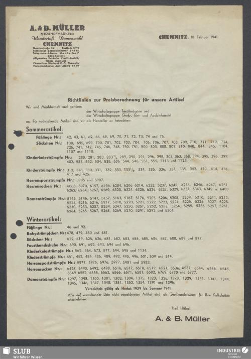 Vorschaubild von A. & B. Müller, Chemnitz, [Strumpffabrik]