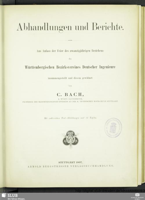 Vorschaubild von Abhandlungen und Berichte
