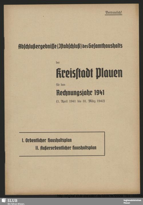 Vorschaubild von [Abschlussergebnisse des Gesamthaushalts der Kreisstadt Plauen für das Rechnungsjahr ...]