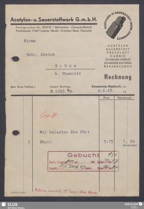 Vorschaubild von Acetylen- u. Sauerstoffwerk G.m.b.H., Chemnitz-Rottluff