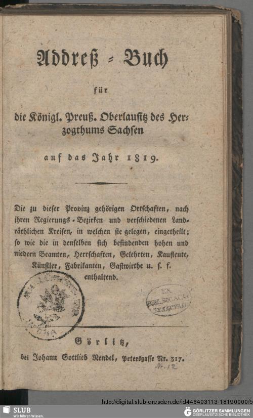 Vorschaubild von [Addreß-Buch für die Königl. Preuß. Oberlausitz des Herzogthums Sachsen auf das Jahr ...]