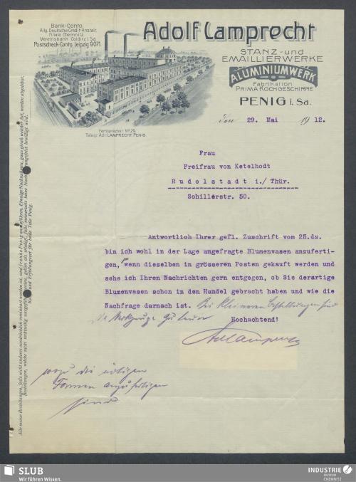 Vorschaubild von Adolf Lamprecht, Stanz- und Emaillierwerke, Aluminiumwerk, Penig i. Sa.