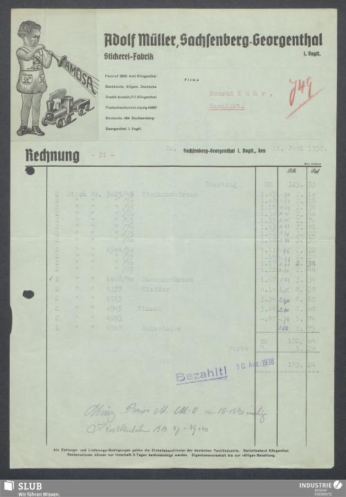 Vorschaubild von Adolf Müller, Sachsenberg-Georgenthal i. Vogtl., Stickerei-Fabrik