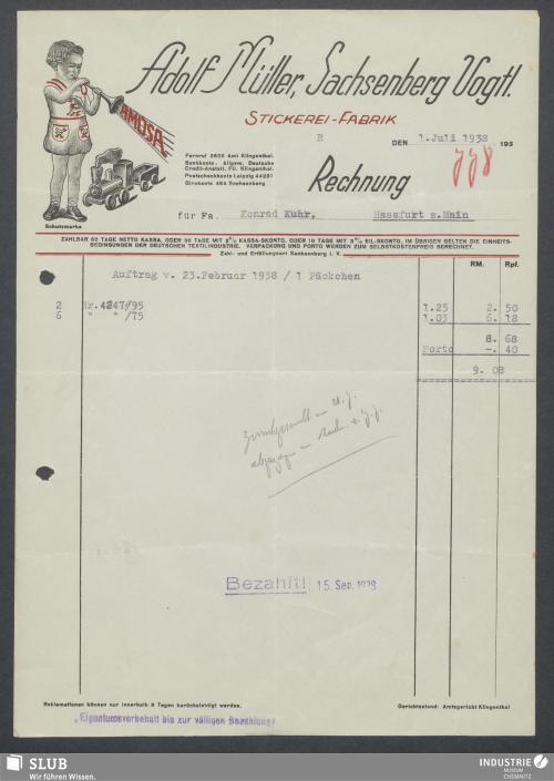 Vorschaubild von Adolf Müller, Sachsenberg Vogtl., Stickerei-Fabrik