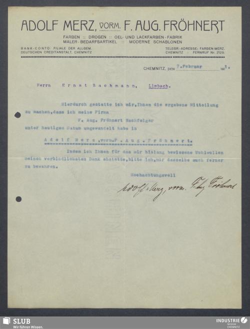 Vorschaubild von Adolf Merz, vorm. F. Aug. Fröhnert, Farben, Drogen, Oel- und Lackfarben-Fabrik, Chemnitz