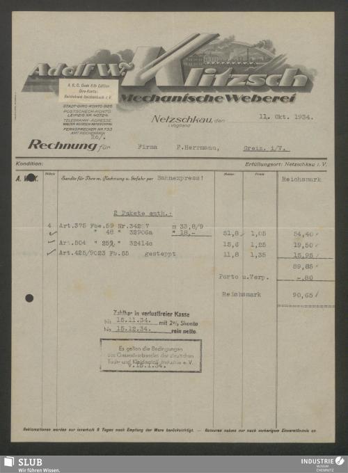 Vorschaubild von Adolf W. Klitzsch, Mechanische Weberei, Netzschkau