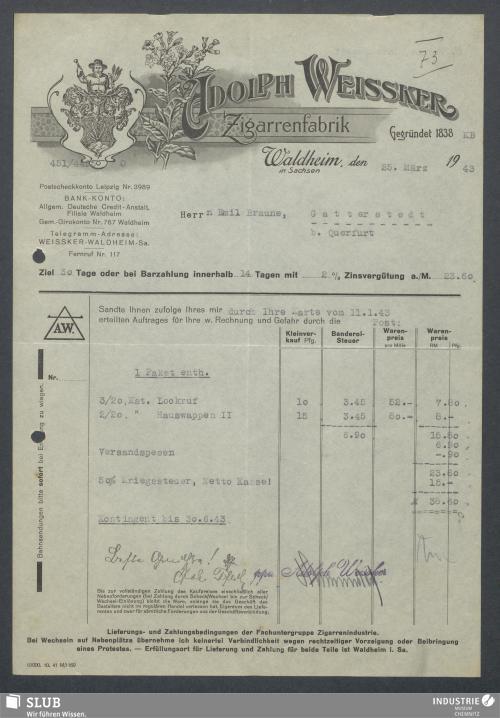 Vorschaubild von Adolph Weissker, Zigarrenfabrik, Waldheim