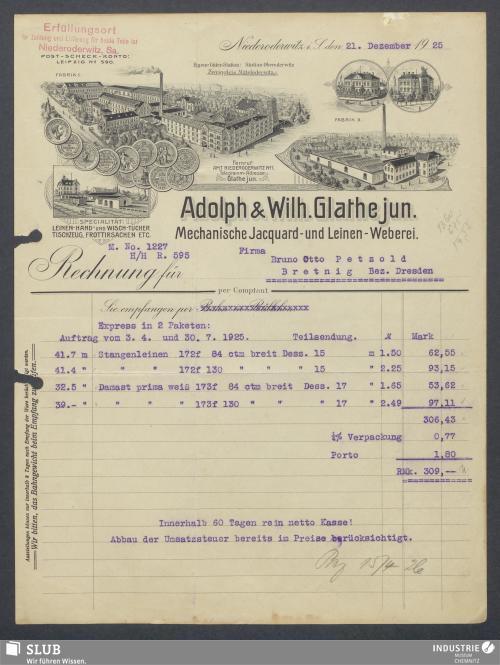 Vorschaubild von Adolph & Wilh. Glathe jun., Mechanische Jacquard- und Leinen-Weberei, Niederoderwitz i. S.