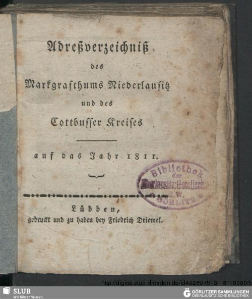 Vorschaubild von [Adreßverzeichniß des Markgrafthums Niederlausitz und des Cottbusser Kreises]