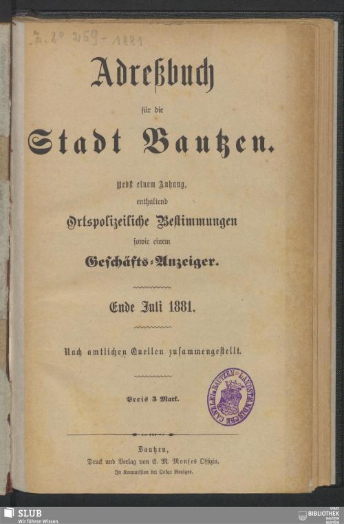 Vorschaubild von [Adreßbuch der Stadt Bautzen]