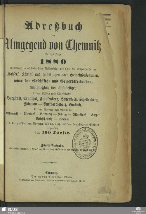 Vorschaubild von [Adreßbuch der Umgegend von Chemnitz für das Jahr ...]
