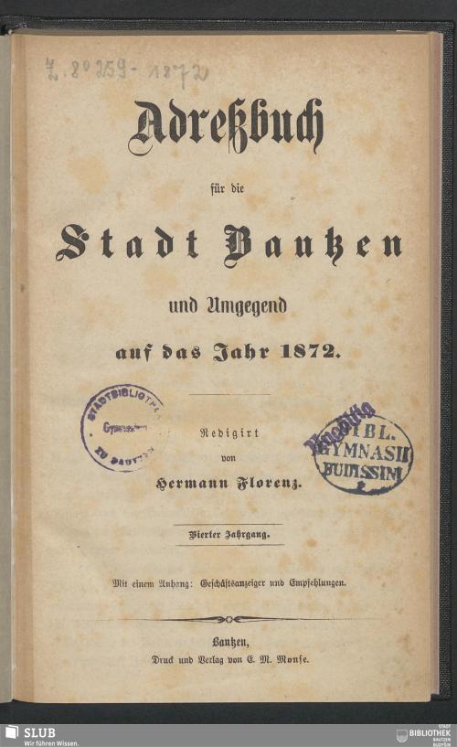 Vorschaubild von [Adreßbuch für die Stadt Bautzen und Umgegend]