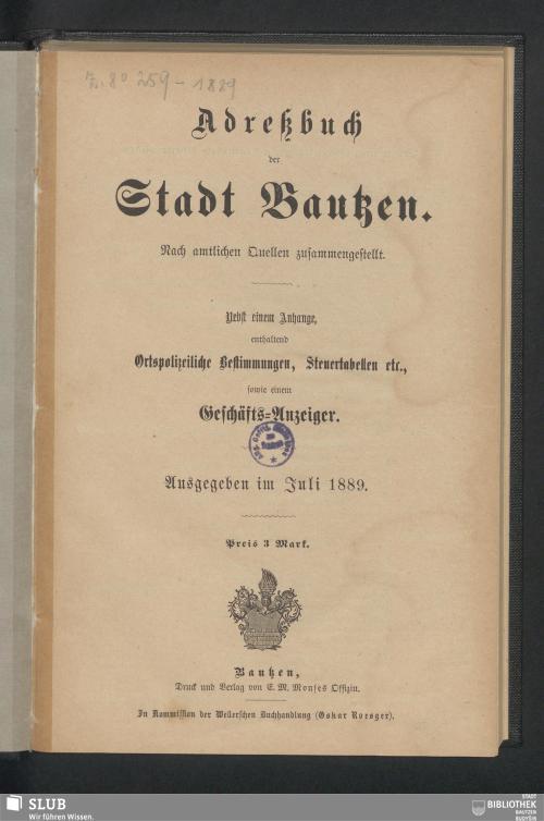 Vorschaubild von [Adreßbuch und Plan der Stadt Bautzen]