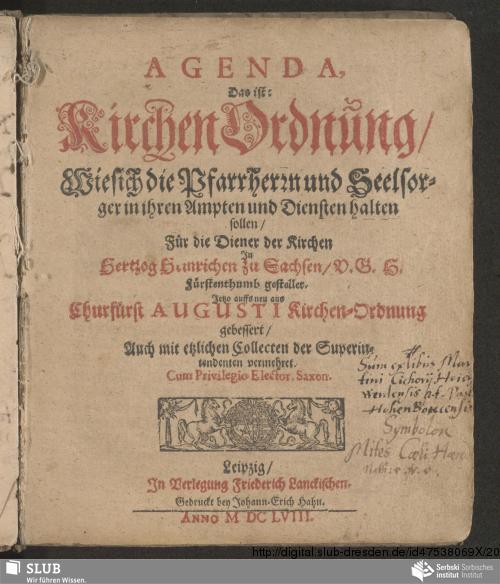 Vorschaubild von Agenda: Das ist Kirchenordnung, wie sich die Pfarrherrn und Seelsorger in ihren Ampten und Diensten halten sollen