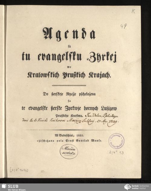 Vorschaubild von Agenda sa tu evangelsku Zyrkej we Kralowskich Prußkich Krajach