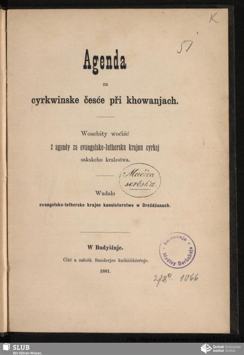 Vorschaubild von Agenda za cyrkwinske česće při khowanjach