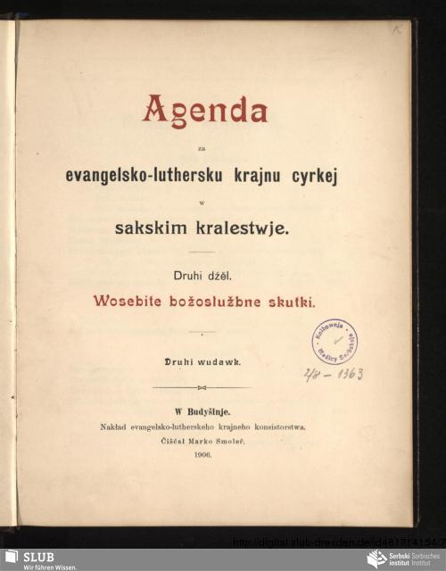 Vorschaubild von Druhi dźěl. Wosebite božosłužbne skutki