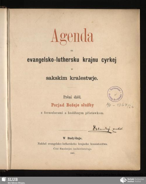 Vorschaubild von Prěni dźěl. Porjad Božeje słužby z formularami a hudźbnym přistawkom