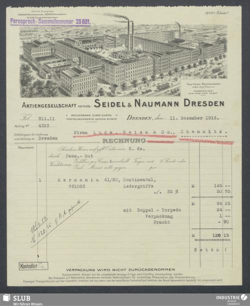 Vorschaubild von Aktiengesellschaft, vorm. Seidel & Naumann Dresden