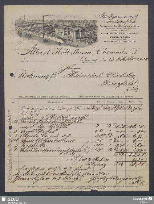 Vorschaubild von Albert Holtzthiem, Chemnitz i. S., Metallgiesserei und Armaturenfabrik für Gas-, Wasser- u. Dampfleitungsgegenstände