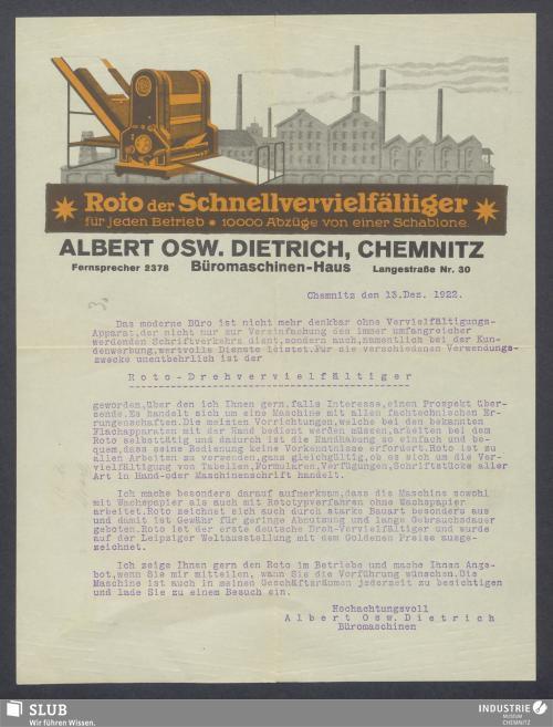 Vorschaubild von Albert Osw. Dietrich, Chemnitz, Büromaschinen-Haus