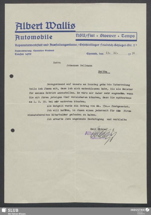 Vorschaubild von Albert Wallis, Automobile, Chemnitz
