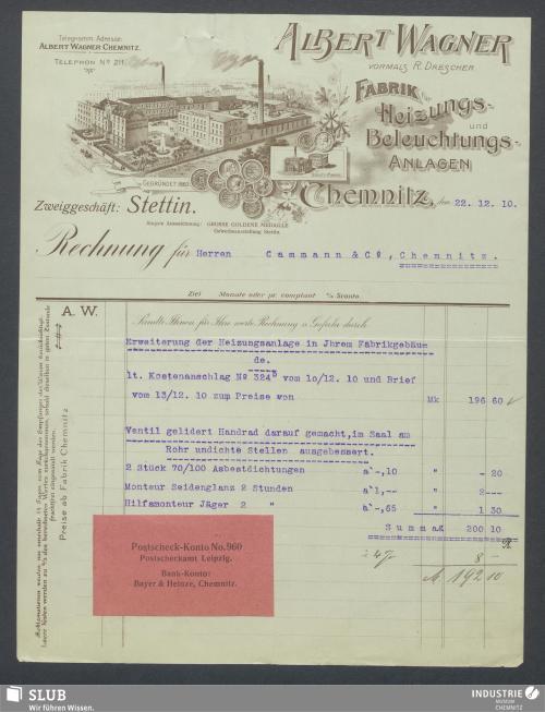 Vorschaubild von Albert Wagner, vorm. R. Drescher, Fabrik für Heizungs- und Beleuchtungsanlagen, Chemnitz