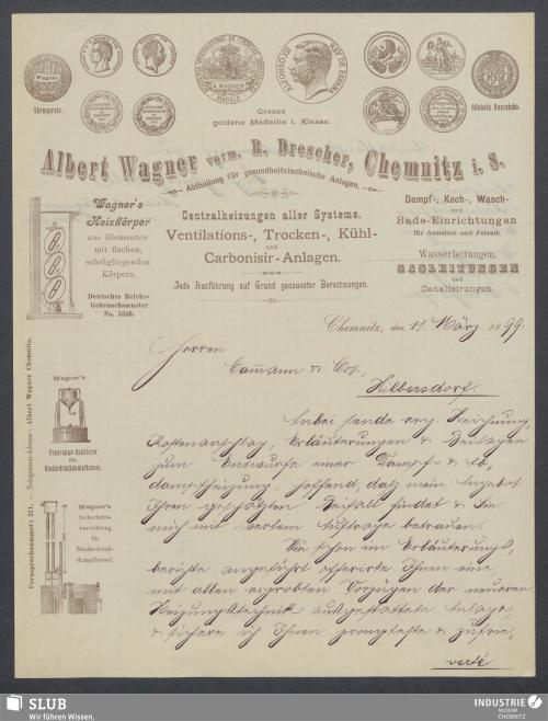 Vorschaubild von Albert Wagner vorm. R. Drescher, Chemnitz i. S., Abtheilung für gesundheitstechnische Anlagen
