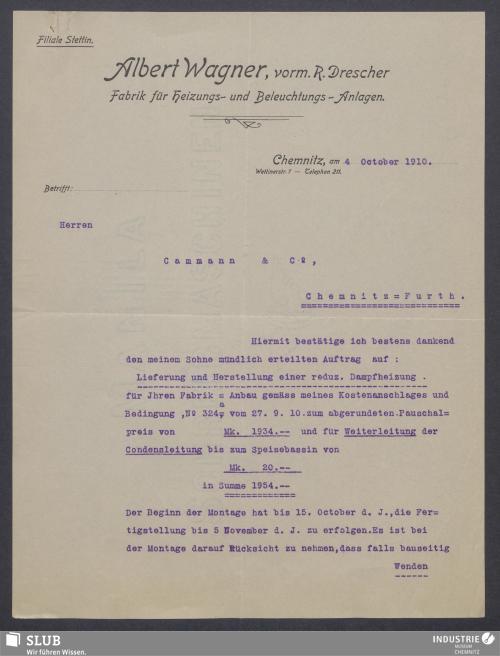 Vorschaubild von Albert Wagner, vorm. R. Drescher, Fabrik für Heizungs- und Beleuchtungs-Anlagen, Chemnitz