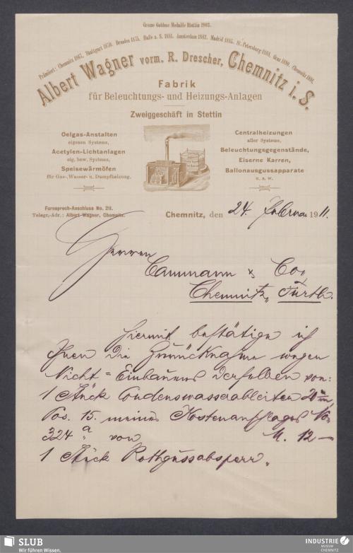Vorschaubild von Albert Wagner, vorm. R. Drescher, Chemnitz i. S., Fabrik für Beleuchtungs- und Heizungs-Anlagen
