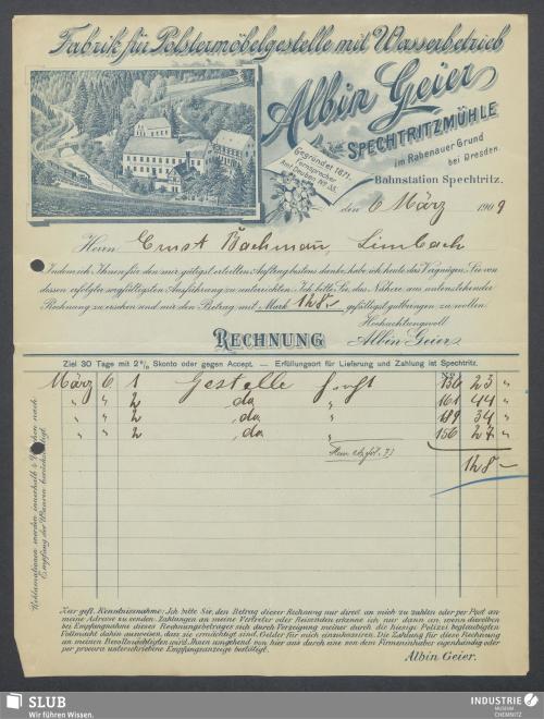 Vorschaubild von Albin Geier, Fabrik für Polstermöbelgestelle, Spechtritzmühle, Spechtritz