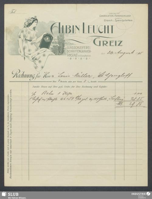 Vorschaubild von Albin Leucht, Greiz, Glasschleiferei, Schriftgravier-Anstalt