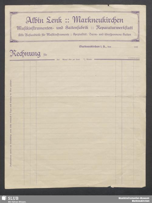 Vorschaubild von Albin Lenk, Markneukirchen, Musikinstrumenten- und Saitenfabrik, Reparaturwerkstatt