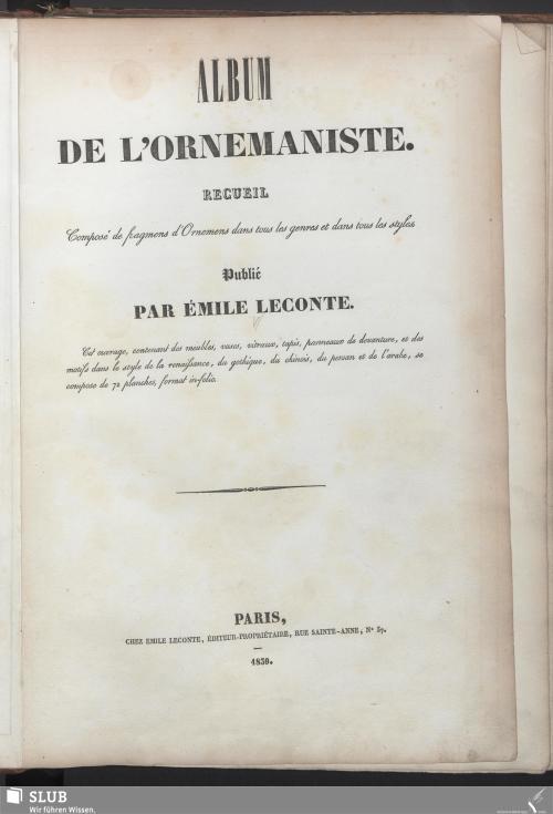 Vorschaubild von Album De L'Ornemaniste