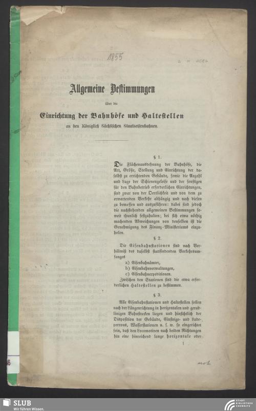 Vorschaubild von Allgemeine Bestimmungen über die Einrichtung der Bahnhöfe und Haltestellen an den Königlich Sächsischen Staatseisenbahnen