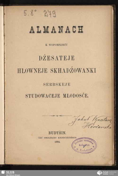 Vorschaubild von Almanach k wopomnjeću dźesateje hłowneje skhadźowanki serbskeje studowaceje młodosće