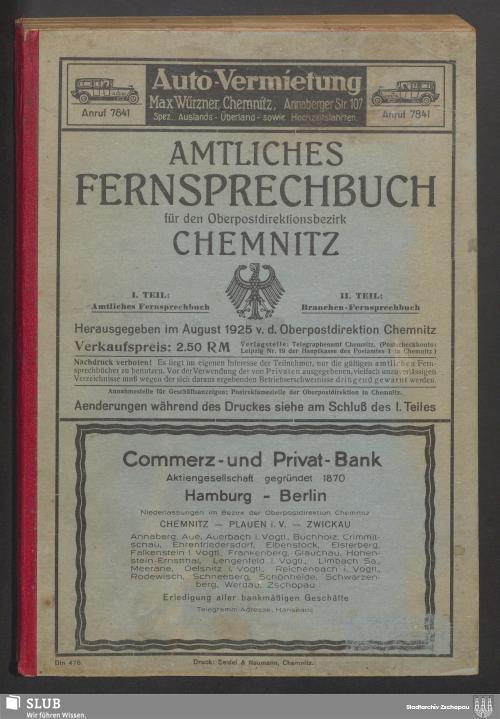 Vorschaubild von [Amtliches Fernsprechbuch für den Oberpostdirektionsbezirk Chemnitz]