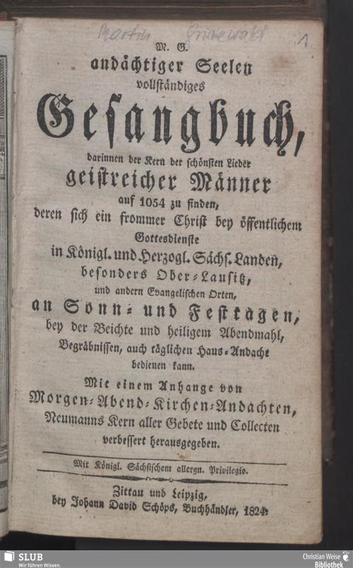 Vorschaubild von M. G. andächtiger Seelen vollständiges Gesangbuch